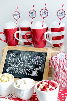 Polar Express Poster Refreshments Chalkboard by SassabyParties Polar Express Party, Polar Express Christmas Party, Christmas Movie Night, Christmas Birthday Party, Christmas Party Decorations, Kids Christmas, Polar Express Crafts, Polar Express Games, Work Christmas Party Ideas