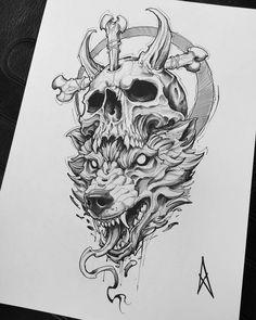 Wolf Tattoo Design, Skull Tattoo Design, Tattoo Design Drawings, Tattoo Sketches, Skull Rose Tattoos, Skull Sleeve Tattoos, Tattoo Sleeve Designs, Egypt Tattoo, Totenkopf Tattoos
