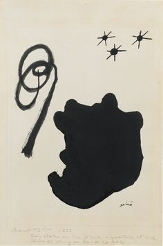 Joán Miró 1893 - 1983 LES CHANTS DE MALDOROR signed Miró (lower right) and inscribed chant VI ième - III trois étoiles au lieu d'une signature et une tâche de sang au bas de la page (at the bottom) ink on paper 24.5 by 15.9 cm ; 9 5/8 by 6 1/4 in. Executed in 1933.