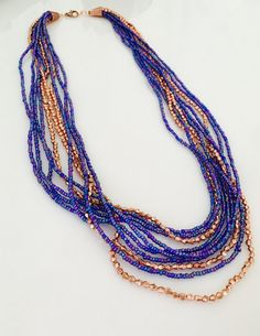 Rose Gold Blue Layered Statement Seed Bead Necklace by JewelrybyRJ