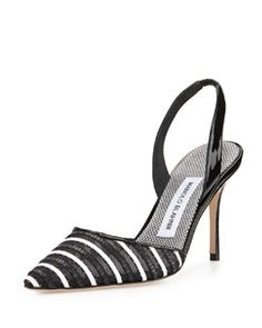 Fabio Striped Patent Leather Slingback Pump, Black by Manolo Blahnik at Bergdorf Goodman. Black High Heel Pumps, Black Patent Leather Shoes, Pumps Heels, Black Shoes, Boogie Shoes, Manolo Blahnik Heels, Estilo Fashion, Slingback Pump, Fashion Heels