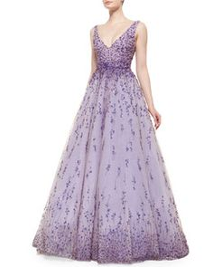 T9PM8 Monique Lhuillier Floral Beaded Degrade Ball Gown, Violet