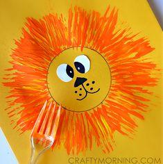 Lion Craft for Kids Using a Fork Lion Craft für Kinder mit einer Gabel Lion Painting, Painting For Kids, Art For Kids, Toddler Crafts, Crafts For Kids, Arts And Crafts, Mothers Day Card Kids, Fork Crafts, Lion Craft