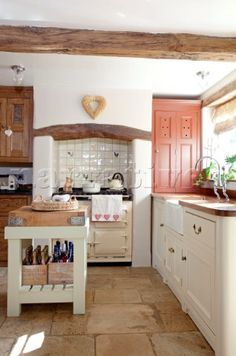 Butchers block in kitchen of Cotswolds home UK