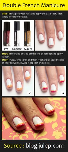 Double French Manicure   Pinterest Tutorials. Don't like the colours used but like the idea!
