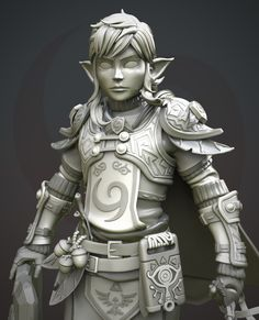 This one is a fanart of Zelda : Breath of the Wild. My goal was to create a korok armor set for our hero. Zbrush Character, 3d Character, Character Design, The Legend Of Zelda, 3d Drawing Techniques, Armadura Medieval, Digital Sculpting, Modelos 3d, 3d Texture