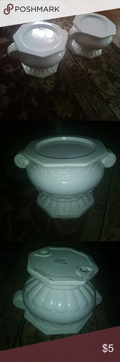 2 white ceramic plant holders 2 white ceramic plant holders from THE CHRISTMAS TREE SHOP christmas tree shop Other