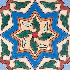 """#384 Pinwheel /Dot, 6X6"""" Ceramic Tile"""