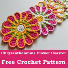 Chrysanthemum/ Flower Coaster – Free Crochet Pattern ༺✿ƬⱤღ  http://www.pinterest.com/teretegui/✿༻