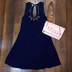 NEW lace-strap navy dress!! Love it paired with some light pink & gold accessories! Perfect for weddings & graduations!