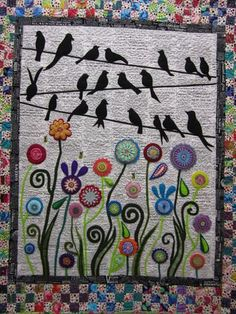 Wendy Williams quilt - isn't it clever! Note the newsprint background. williams quilt birds on a wire Felt Embroidery, Felt Applique, Applique Quilts, Penny Rugs, Small Quilts, Mini Quilts, Quilting Projects, Quilting Designs, Vogel Quilt