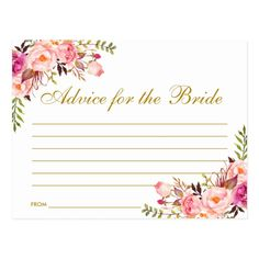 Shop Floral Pink Blush Gold Bridal Shower Advice Card L created by PearlBay. Personalize it with photos & text or purchase as is! Bridal Shower Advice, Blush Bridal Showers, Bride Shower, Bridal Shower Party, Bridal Shower Invitations, Blush And Gold, Blush Pink, Wedding Advice Cards, Wedding Ideas