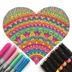 (This post contains affiliate links) These fun heart coloring pages are perfect for Valentine's Day. Print a whole stack of them for your Valentine's Day party. Or cut out your finished heart and turn it into a Valentine's Day card. Mandala Doodle, Mandala Drawing, Doodle Art, Heart Coloring Pages, Coloring Books, Dibujos Zentangle Art, Simple Mandala, Zentangle Patterns, Zentangles