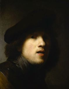 "REMBRANDT ""Self-Portrait"" c. 1629, Oil on wood, 44 cm x 34 cm, Museum of Art, Indianapolis"