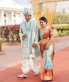 Beautiful couple in warmest colours ♥️ PC - Engagement Dress For Groom, Couple Wedding Dress, Wedding Outfits For Groom, Indian Wedding Outfits, Wedding Shoot, Wedding Bride, Wedding Events, Indian Bride And Groom, South Indian Bride