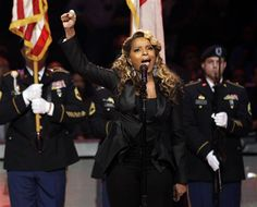 Oh say can you see? Mary J. Blige is singing the National Anthem at the Derby