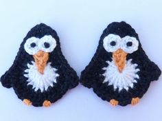 2 Crochet applique penguins cards scrapbooks by MyfanwysAppliques