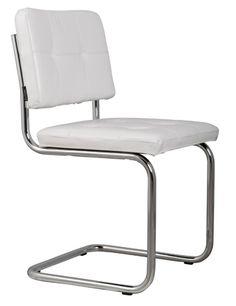 Zuiver Eetkamerstoel wit leer 48x48x85cm, Chair Ridge leather white 017