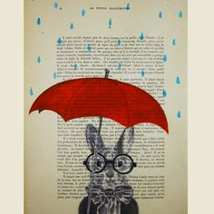 Raining Rabbit - ORIGINAL ARTWORK Hand Painted Mixed Media on 1919 famous Parisien Magazine 'La Petit Illustration' by Coco De Paris for my next altered book project H Art And Illustration, Illustrations, Illustration Fashion, Umbrella Art, Under My Umbrella, Motifs Animal, Game Character Design, 3d Character, Kunst Poster