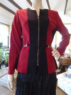 Black Red Zipper Retro Suede Like Womens Jacket by LandofBridget