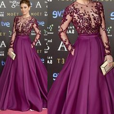 Red Carpet Inspired Plum See Through Beaded Sexy Long Sleeve A-line Satin Prom Dresses, PD0274 - SofitBridal