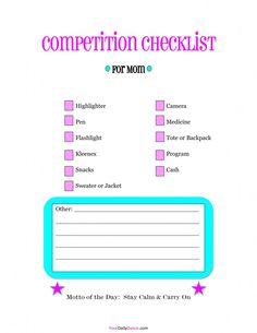 Dance moms competition #checklist.