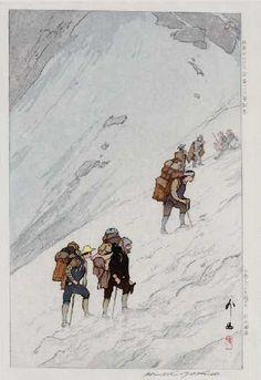 "Hiroshi YOSHIDA -- ""Climbing Snow Valley at Harinoki"", Ukiyo-e Gallery"