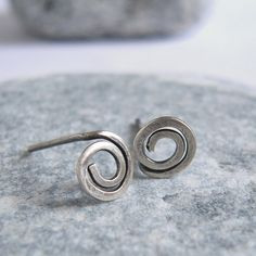 Tiny Swirl Oxidized Sterling Silver Post Earrings by VinLace