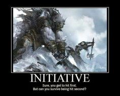 Roll for initiative - Ah, but when you're in a large party, you *want* to fight early