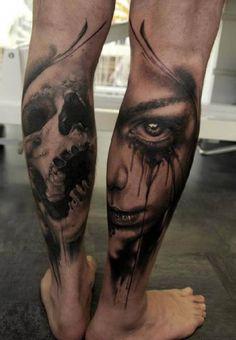 Skull and portrait Tattoo calf #Tattoo, #Tattooed, #Tattoos