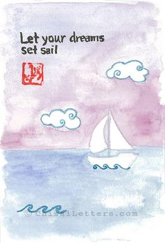 $36 Inspirational original hand-painted watercolor & ink scene with a sailboat on the sea