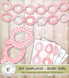 Excited to share the latest addition to my #etsy shop: Baby Girl DIY Garland, Printable Paper craft with How-to, for Easter, Baby Shower, Nursery décor, Pink White Polka dots Heart pattern (D001) https://etsy.me/2GZ1A03 #papergoods #pink #babyshower #easter #white #diy