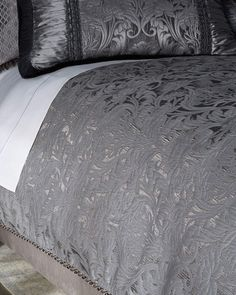 Shop Queen Aviana Damask Plisse Duvet Cover from Dian Austin Couture Home at Horchow, where you'll find new lower shipping on hundreds of home furnishings and gifts. Bedroom Comforter Sets, Damask Bedding, Luxury Bedding, Bed Linen Design, Bed Design, King Size Bed Linen, Contemporary Bed Linen, Modern Contemporary, Bed Duvet Covers