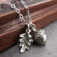 Argento collana di ghianda, Acorn ciondolo, Acorn gioielli, Birthstone gioielli, catena in argento Sterling