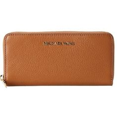 Michael Kors Bedford Luggage Brown Zip Around Continental Wallet ($135) ❤ liked on Polyvore featuring bags, wallets, tan, tan leather wallet, genuine leather wallet, brown leather wallet, leather credit card holder wallet and zipper wallet