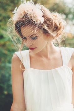 Birdcage + Messy Updo | bridal hair and veil inspiration