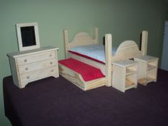 7 pc. trundle bedroom set for dolls up to by TednGingerDollBeds, $62.50