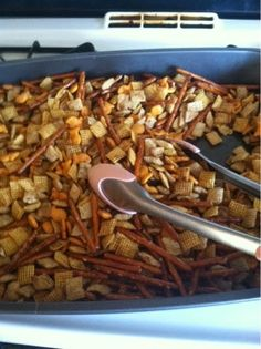Home made Chex Mix -- Make it with gluten free pretzels and goldfish for GF snack