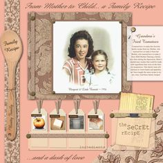 Digital Scrapbooking Family Recipe Page from www.PrettyPiece.com