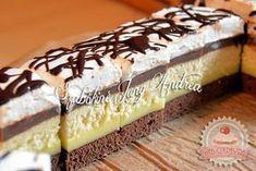 Somlói szelet Hungarian Desserts, Hungarian Cake, Hungarian Recipes, Cake Bars, Sweet Recipes, Food To Make, Sweet Tooth, Sweet Treats, Cheesecake