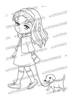 Girl Walking Dog Digital Stamp Puppy Digi Stamp by lemonshortbread
