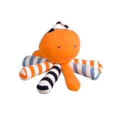 Bright, colorful and cheery, this adorable 8-legged Scraptopus is sure to be a hit with the two and under set. Made of 100% Egyptian cotton, it makes for a soft and cuddly companion, is easy to tote along by its striped loop handle, and even doubles as a teether. Plus, it's made from leftover fabric scraps from production, making an eco-friendly toy you can feel good about.