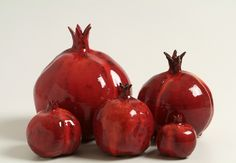 CLAY POMEGRANATE Figurine, Home Decor, Israeli Art. $35.00, via Etsy.