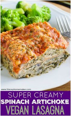 Stacey This is the creamiest, most satisfying vegan lasagna you'll ever taste! The filling is an ultra-rich cashew-based spinach artichoke dip that's loaded with veggies and tucked in between layers of noodles. It's vegan. Vegan Lasagna Recipe, Vegan Dinner Recipes, Veggie Recipes, Whole Food Recipes, Vegetarian Recipes, Cooking Recipes, Healthy Recipes, Vegan Artichoke Recipes, Celiac Recipes