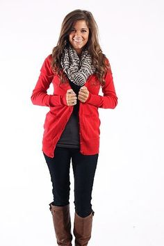 Casual day out or lounging-dark neutrals, bright cardigan, and a fun chunky patterned scarf