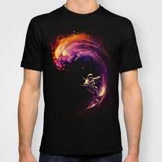 Space Surfing Graphic T-shirt by Nicebleed - Black - - Mens Fitted Tee Tee Shirt Homme, T Shorts, Look Cool, Cool Shirts, Awesome Shirts, Funny Shirts, Shirt Outfit, Surfing, Shirt Designs