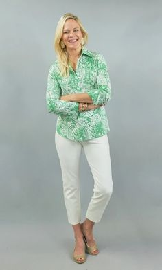 "BACK BY POPULAR DEMAND! In our lux stretch cotton shirting, this green and white button down blouse is an instand classic! Stretch Cotton. Machine washable. Model is 5' 11"", size 4, and wearing size S. White Button Down, 5 S, Button Downs, Capri Pants, Popular, Classic, Green, Model, Cotton"