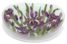 Peggy Karr Handcrafted Art Glass Wild Iris Serving Bowl, ...