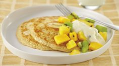 Quick and easy breakfast The Biggest Loser Banana Hotcakes with Tropical Fruit and Yoghurt
