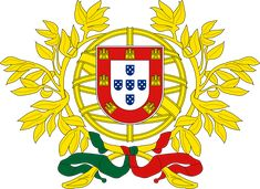 Coat of Arms of Portugal. The Portuguese coat of arms has a white shield (containing five small blue shields with white dots) within a red shield (with seven small yellow castles), surrounded by yellow straps. The five blue small shields represent the five Moorish kings who were defeated by the first King of Portugal. (V)